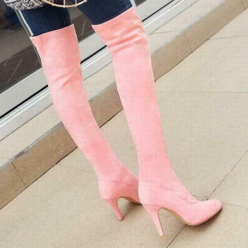 Womens Pointed Toe Pull On Stiletto High Heel Over Knee Thight High Boots Casual