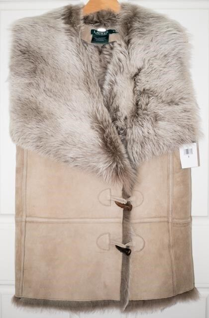 Perfect Valentine's Gift LRL Lamb Shearling and Suede Toggle-Button Vest SZ (S)