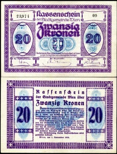 AUSTRIA 20 KRONE 1918 P R54 UNC