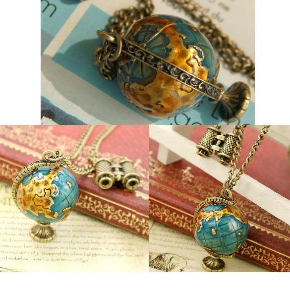 Fashion Girls Globe And Telescope Necklace Chain Design Fancy Coloured Chain