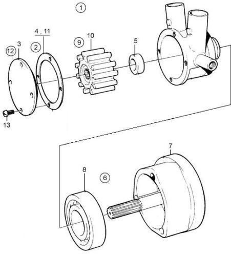 Raw Wasserpumpe Reparaturset für Volvo Penta V6 V8 Pumps 857451 841640 856952