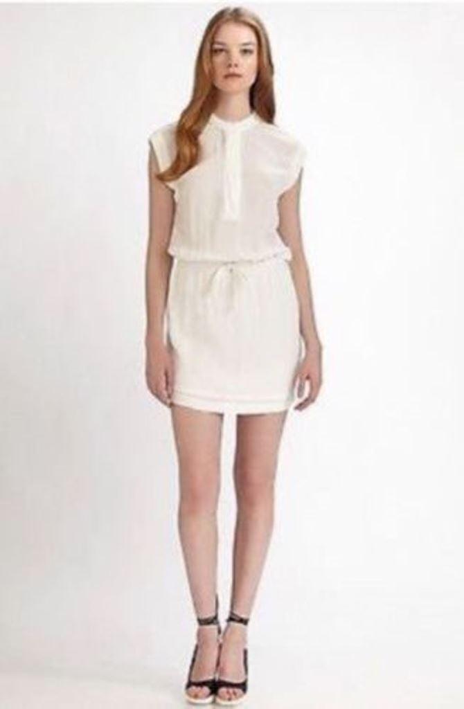 JAMES PERSE Standard DRAWSTRING White LINEN Dress ( 3 ) FREE SHIPPING