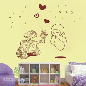 Details about Wall-E In Love Nursery Wall Art Decal, Unique Design,Wall  Decals -- PD296