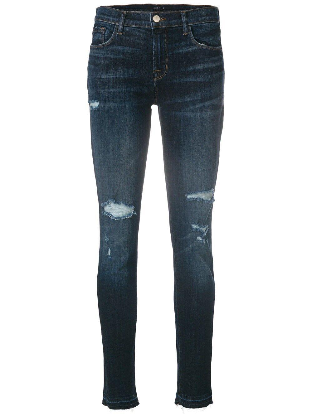 New J Brand Jeans mid rise destroyed denim Super Skinny Legging Jeggings Pants