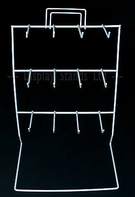 12 Hook counter keyring stand with header clip in white (J47)