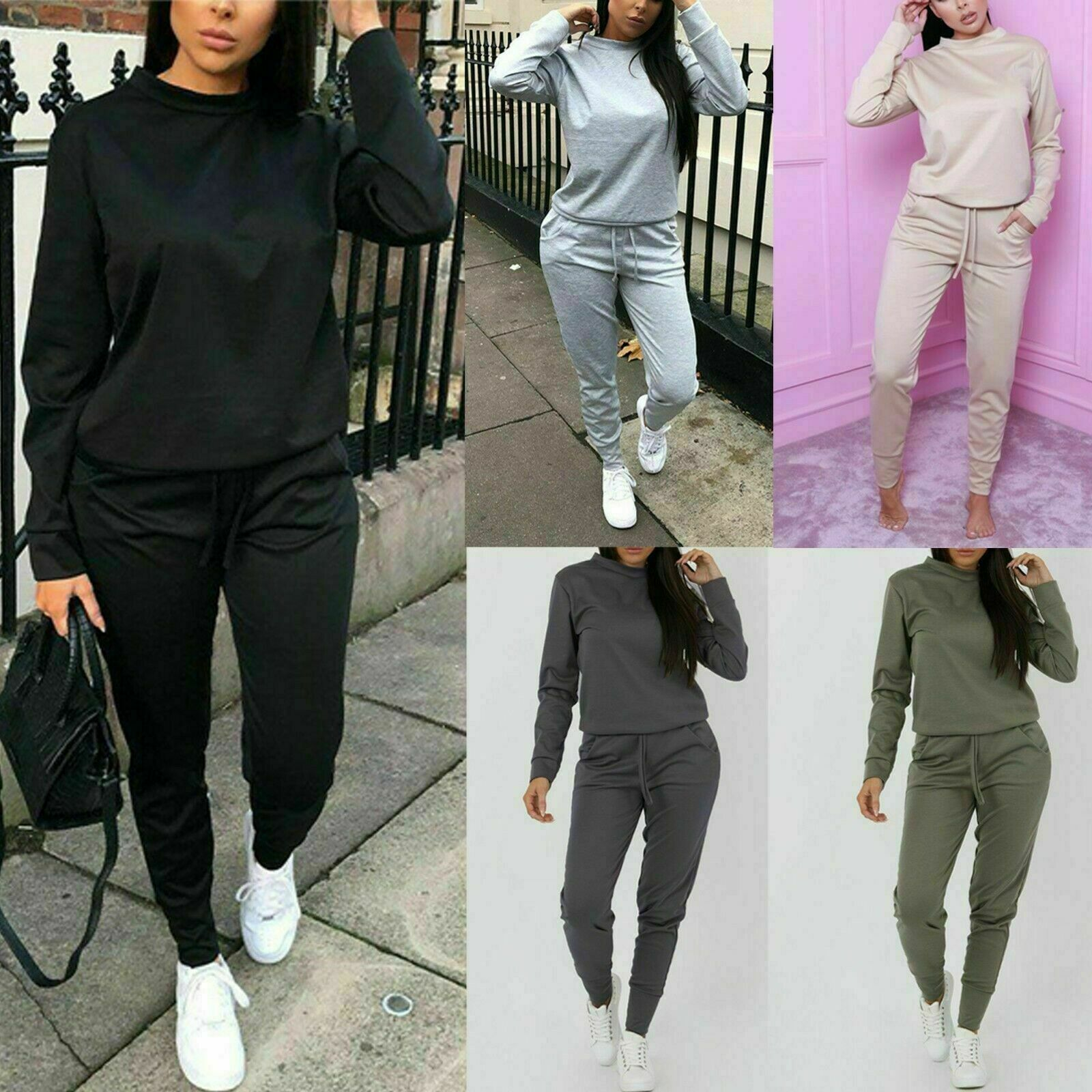 Women's Ladies Long Sleeve Top Bottom Lounge wear Tracksuit Suit 2 pc Set Formal