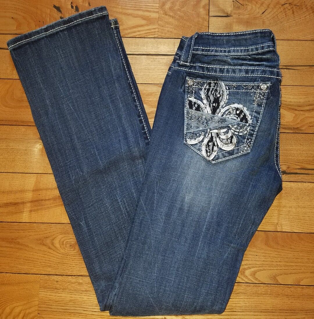 NEW Womens MISS ME JEANS Rhinestone Bling Signature Slim Boot Jeans Size 26