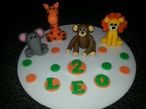 Image Is Loading Edible Handmade Zoo Jungle Animals Cake Topper Decoration
