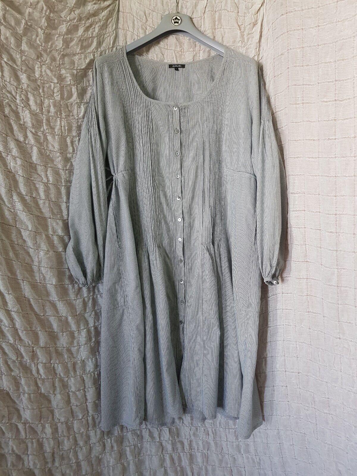 Hebbeding grey stripe stripe stripe 100% cotton puff long sleeve full front buttoned dress 2XL b13e11