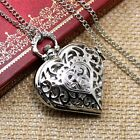 Silver Quartz Heart-shaped Pocket Watch Necklace Pendant Mens Womens Gift Xmas