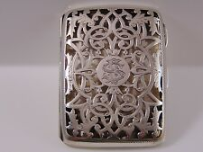 Fine Antique Sterling Silver Card Case. Birm1903 maker J Millward Banks 63.4grms