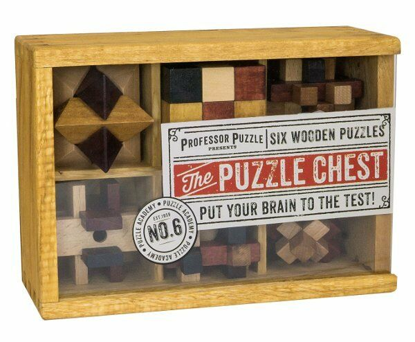 Professor Puzzle PUZZLE ACADEMY The PUZZLE CHEST 6 Wooden Puzzles in BOX