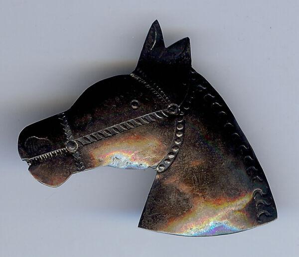 1940s Vintage Navajo Silber Pferd Kopf Anstecknadel Brosche