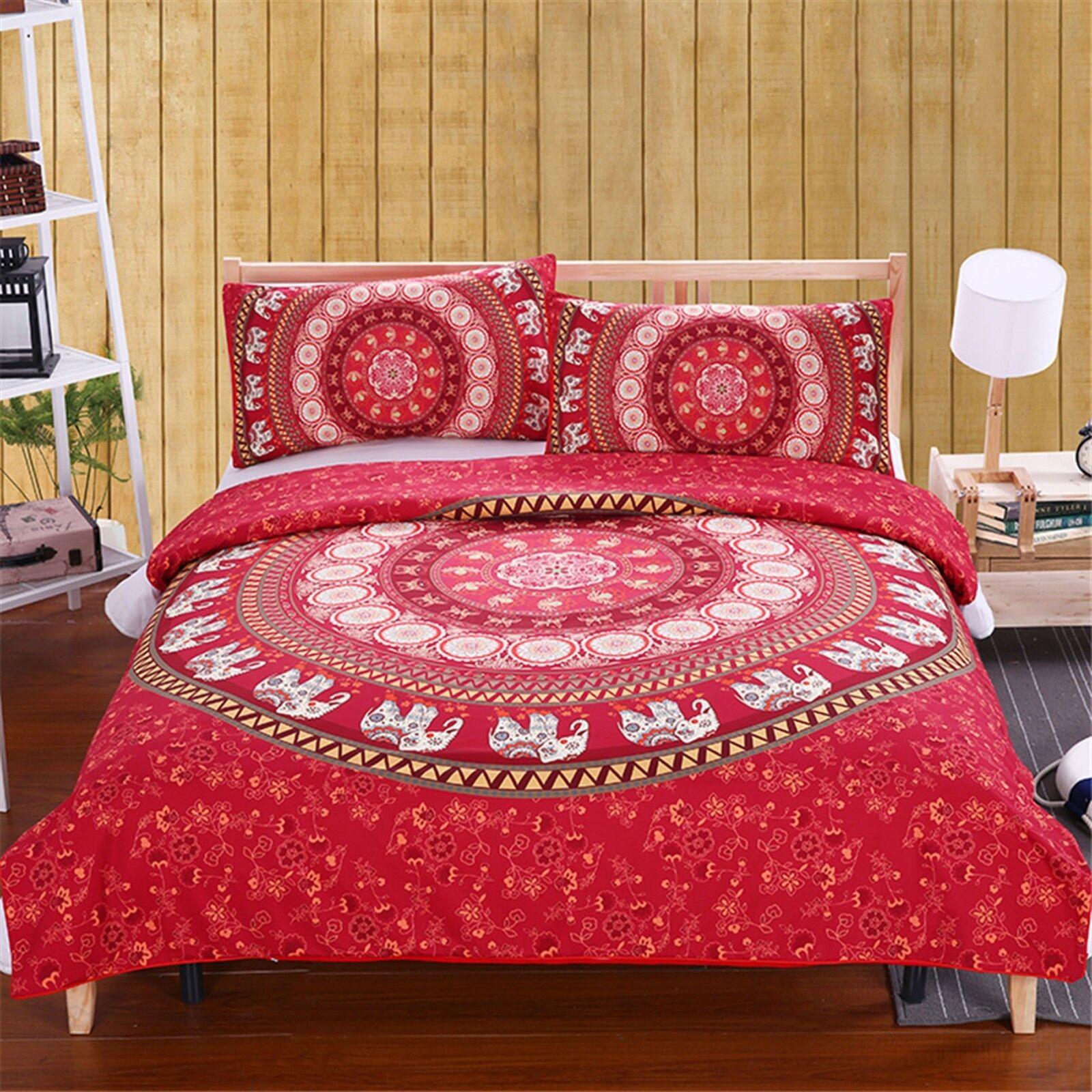 3D rot Elephants 452 Bed Pillowcases Quilt Duvet Cover Set Single Queen CA