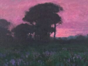 Twilight Wetlands Dusk Realism Landscape OIL PAINTING ART IMPRESSIONIST Original