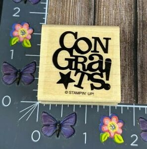Stampin' Up! Congrats! Rubber Stamp Star Wood Mount #B82