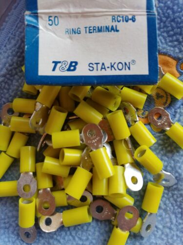 50 Sta-Kon RC10-6 Ring Terminal Connector Insulated #6 bolt 12-10 awg T/&B