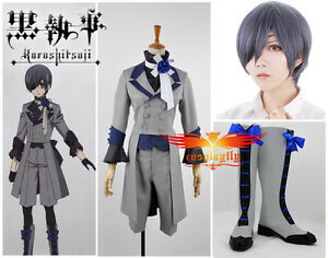 e95b50bfd Black Butler 3 Ciel Phantomhive Grey Suit Cosplay Costume Shoes Wig ...