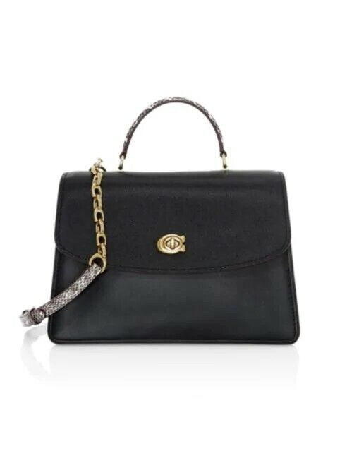 NWT 73969 COACH Parker Snakeskin & Leather Top Handle Bag-BLACK