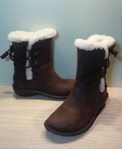 509fc938ee1 Details about UGG 1007760 Akadia Brown Winter Booties Lace Up Back Boots  Leather Shearling 5