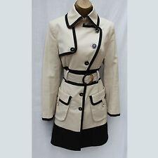 Karen Millen Tailored Cream Black Cotton Longline Posh Mac Coat Jacket 8 UK