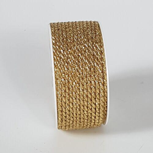 (0,79€/m)  2m Kordel gold  Lurex 4mm Tischband  Weihnachten Advent
