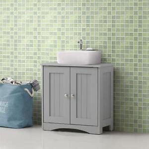 Bathroom Sink Cabinet Under Basin Vanity Storage Cupboard Unit Grey