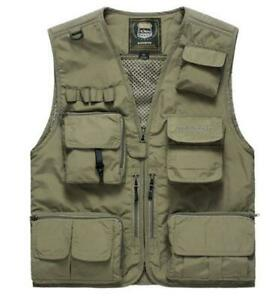 Men-Multi-Pocket-Fishing-Hiking-Hunting-Utility-Gilet-Vest-Jacket-Waistcoat-Larg