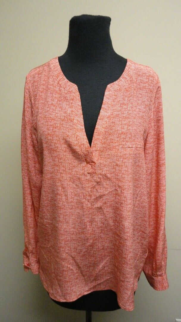 JOIE rot Silk V Neck Long Sleeves Check Casual Blouse Top Sz S GG7553