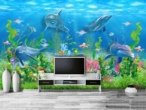 Papel Pintado Mural De Vellón Patrón Delfines Coral 3 Paisaje Fondo De Pansize