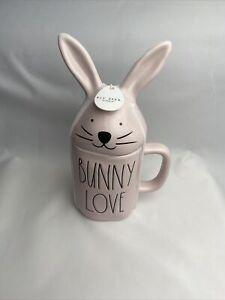 Rae Dunn BUNNY LOVE Mug Pink Ceramic Coffee Mug with Easter Bunny Topper NWT