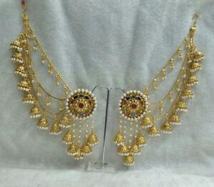 Women Eid Gift Bahubali Indian Earrings Jhumki Jhumka Sahara Kaan Chain Set l6DwiSx0H
