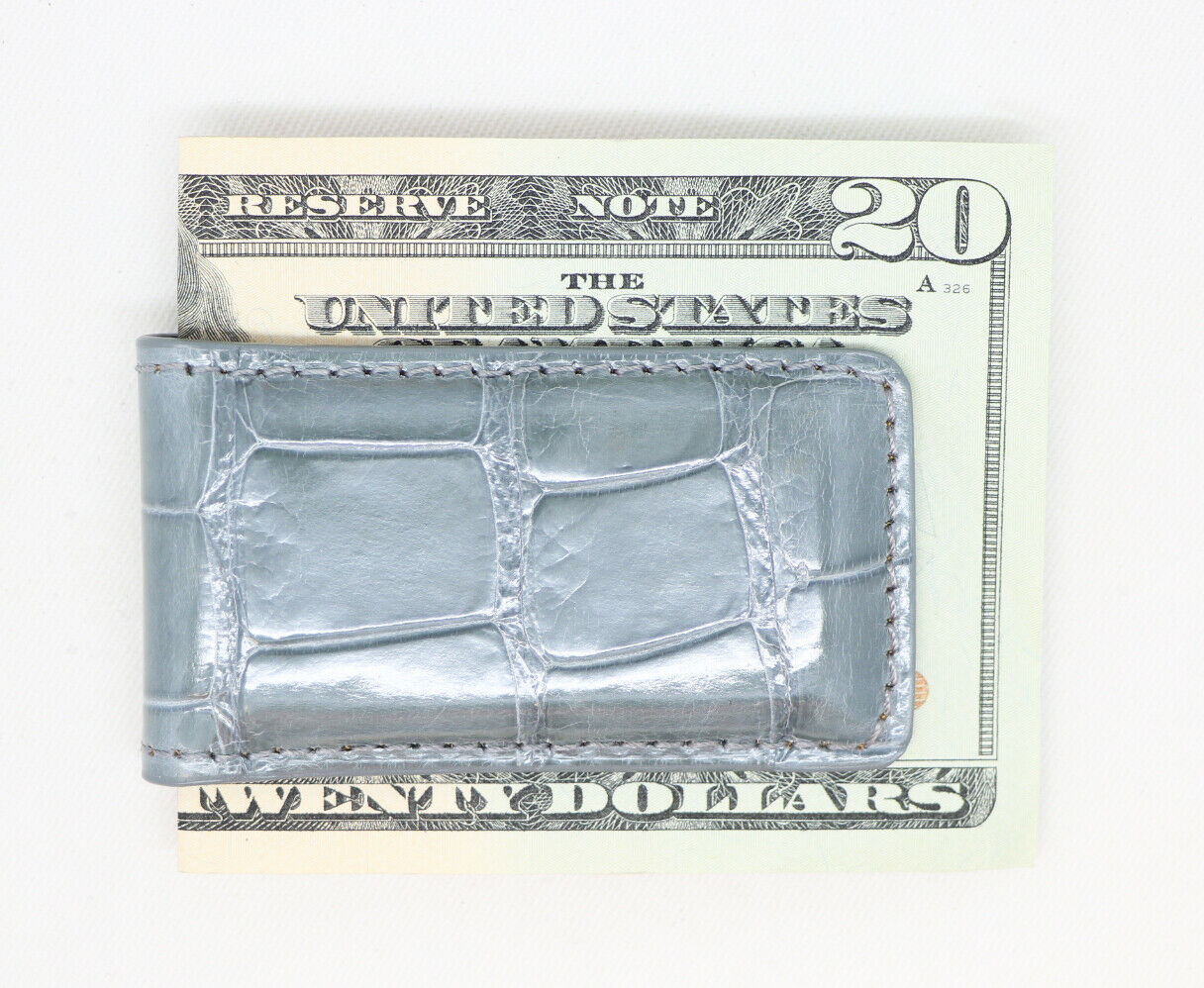 Gray Shiny Genuine Alligator Magnetic Money Clip - MADE IN THE USA