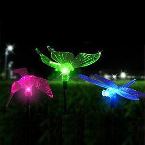 Set Of 3 Color Changing Solar Garden Stake Light Bird