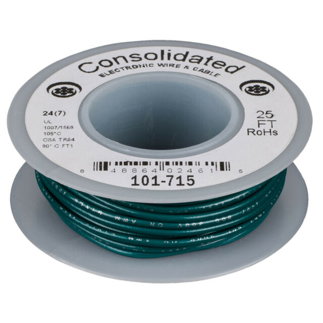 Green UL Ra Consolidated Stranded 24 AWG Hook-Up Wire 25 ft