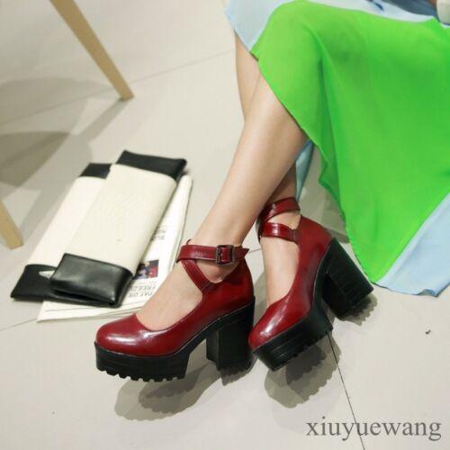 Womens Round Toe Platform High Chunky Heel PU Leather Cross Ankle Strap Shoes SZ