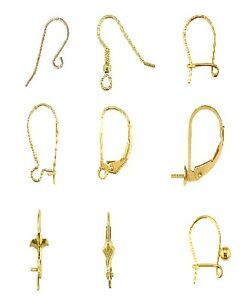 Image Is Loading Gold Earring Wires 9ct Yellow Safety Hook