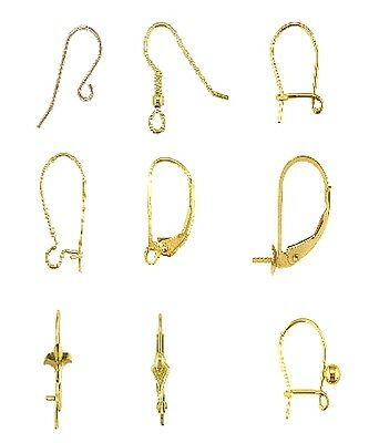 9ct Yellow Gold Earring Ear Wires fleur-de-lys Pattern Safety Drop Hooks