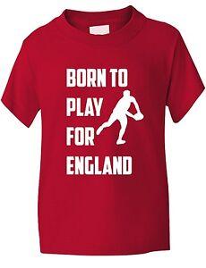Born-a-Jouer-Pour-Rugby-Angleterre-Sport-Enfants-Garcons-Filles-T-Shirt