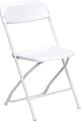 Lot of 200 White Steel Frame Folding Chairs with 650 lb Capacity