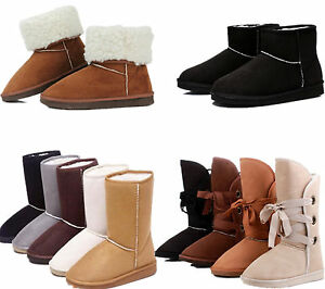 UK-Warm-Women-Girl-Suede-Fur-Lined-Mid-calf-Snow-Flat-Short-Boots-Winter-Shoes