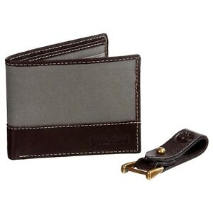 b4a41b8e7bcd Timberland Men s Wallet Bilfold Canvas Leather Key Clip Gift Set ...