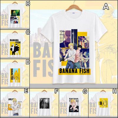 Anime BANANA FISH  Ash Lynx T-shirt White Short Sleeve Unisex TEE Tee Tops