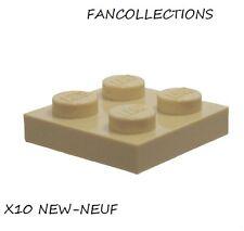 LEGO-X10 Tan Plate 2 x 2  ,   3022  NEUF