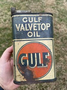 Vintage Original Gulf Valvetop Oil 1 Quart All Metal Can ~ Oiler w Spout ~ Rare