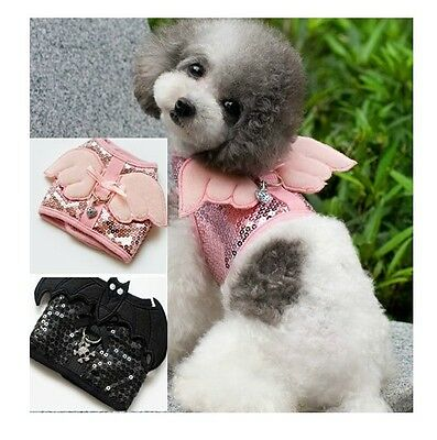 2 Colors Bling Dog Harness Leash Dog Collar Pet Dog Angel Pearl Chest Straps