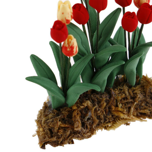 1Pc 1:12 Dollhouse Miniature Garden Ornament Tulips Green Plant Flower Gar  BCAB