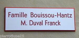 plaque de boite aux lettres porte personnalisée 2 lignes ft 25X75 MM