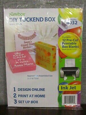 Zumi Box Diy Matte White Tuck End Box 4032 12 Pre Cut Printable Box 3 5 X 1x4 Ebay