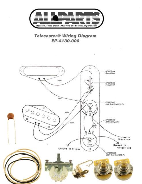 wiring kit for telecaster electric guitar switchcraft cts pots crl 3 way for sale online ebay. Black Bedroom Furniture Sets. Home Design Ideas